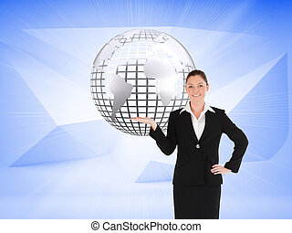 Composite image of charming woman in suit showing a copy...
