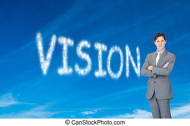 Composite image of assertive businessman standing in front...