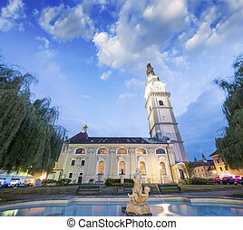 Beautiful Church and square of Klagenfurt, Austria