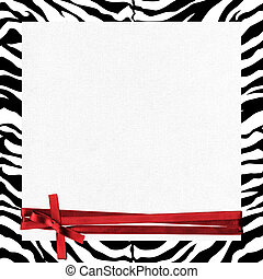 zebra frame with red ribbon