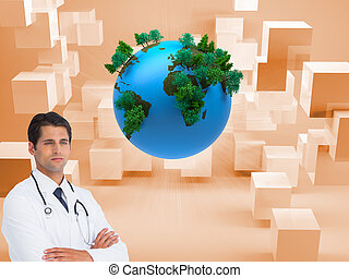 Composite image of serious doctor with arms crossed on white...
