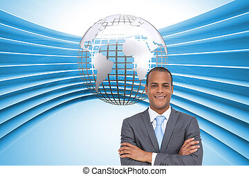 Composite image of charismatic young businessman with arms...