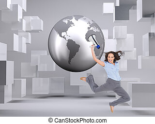 Composite image of cheerful classy businesswoman on white background jumping while holding megaphone