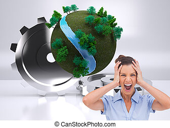 Composite image of stressed businessswoman with hand on her head looking at the camera