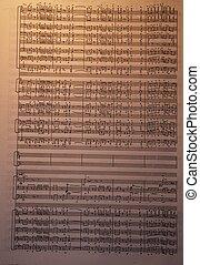 Vintage sheet music - A page of vintage handwritten sheet...