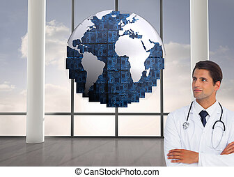 Composite image of confident doctor with arms crossed looking up on white background