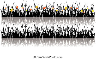 Vector grass silhouette with flowers in it