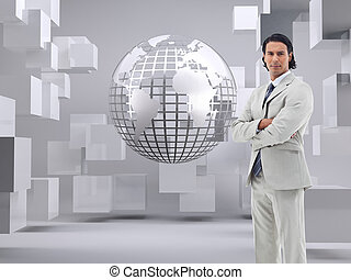 Composite image of portrait of a serious office worker...