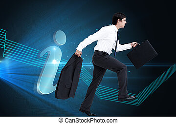 Composite image of side view of walking tradesman with jacket and suitcase against a white background