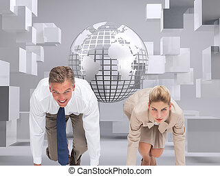 Composite image of business people ready to start race -...