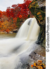 Autumn Whitewater - Indianas Upper Cataract Falls is...