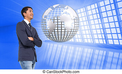 Composite image of smiling casual businessman with arms...