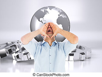 Composite image of shouting casual man standing