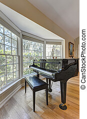 Grand Piano in a living room of a luxury house