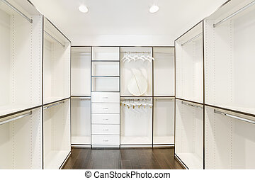 Walk-in closet in a luxury house.