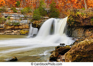 Beautiful Autumn Waterfall - Upper Cataract Falls is an...