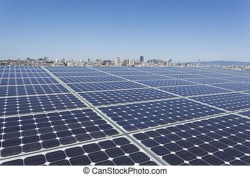 Un, solar, paneles, Tejado
