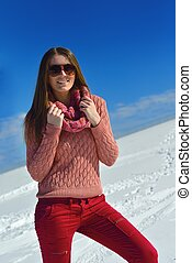 happy woman at winter - happy young woman having fun on...