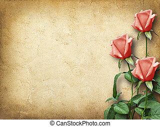 vendimia, tarjeta, felicitaciones, tres, rosa, rosas