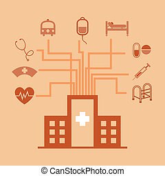 Hospital concept idea in flat style, stock vector