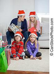 während, Kinder, eltern, Weihnachten, Daheim