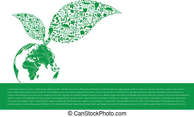 Vector ecology concept - leaf design element made from icons...