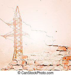 High voltage power lines over wall.  illustration.