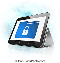 Finance concept: Folder With Lock on tablet pc computer -...