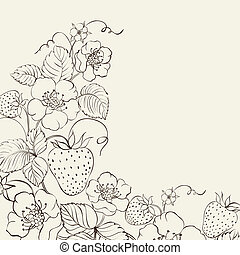 Strawberries brunch over sepia background.  illustration.
