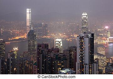City of Hong Kong at night