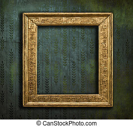 Classical golden frame on faded grunge texture