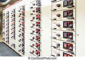 Electrical energy distribution substation in a power plant.
