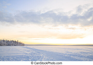Sunrise Winter landscape at Kiruna Sweden lapland