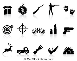 hunting icons set - isolated hunting icons set from white...