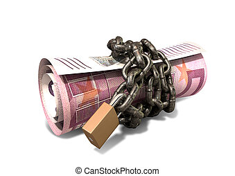Rolled Up And Shackled Euro Notes Standing - A rolled up...