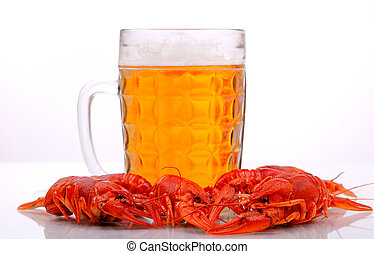 beer with lobsters - Glass of beer with lobsters on white