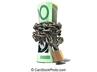 Rolled Up And Shackled Australian Dollar Standing - A rolled...