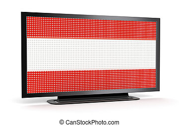 TV with Austrian Flag Image with clipping path