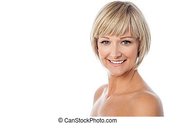 Attractive middle aged bared woman - Isolated sensual woman...