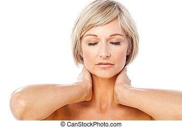 Calm and beautiful spa lady with closed eyes - Pretty...