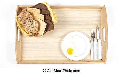 Breakfast. Time-lapse - Time-lapse video of breakfast with...