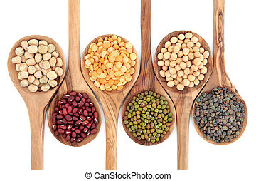 Dried Pulses - Pulses food selection in olive wood spoons...