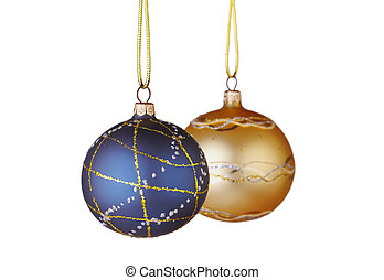 Christmas decoration. Blue and yellow balls on white...