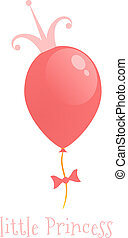 Balloon with a gold crown. Background little princess