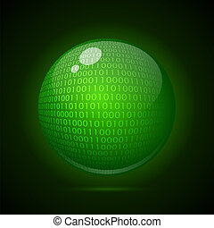 Digital green globe on a dark background