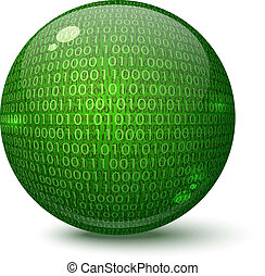 Digital green globe on a white background