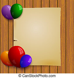Wooden plank wall with a piece of paper and balloons