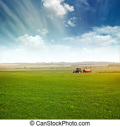 tractor in field gather crops - tractor in green field over...