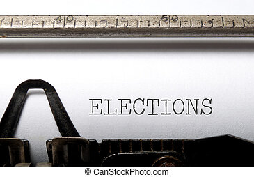 Elections heading printed on a typewriter