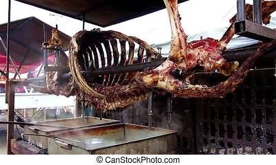 Skeleton - Peeled skeleton of a cow on a spit.